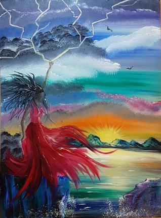 Oil Painting - Oya Goddess of the Storm